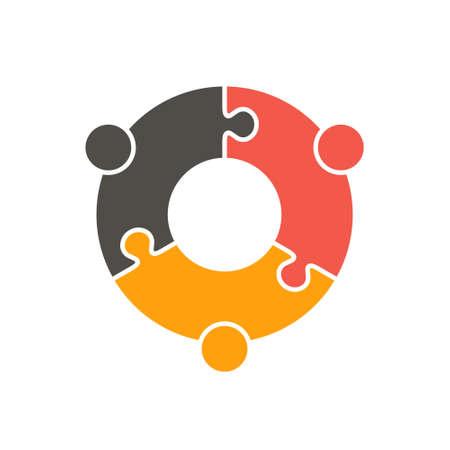 girotondo bambini: Lavoro di squadra Persone di puzzle tre pezzi. Vector graphic design illustrazione