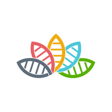 DNA Biology group of leaves. Vector graphic design