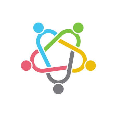 network logo: People Group Teamwork Logo. Vector graphic design illustration