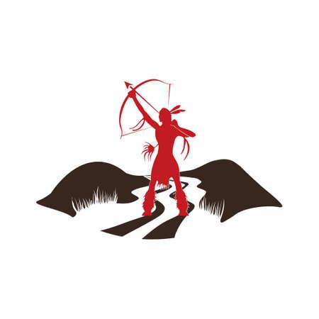 indigenous culture: Indian Girl Hunter Logo. Vector graphic design