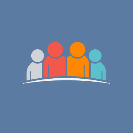 Group of 4 people.Teamwork, Friendship Concept. Vector graphic illustration Stock Photo