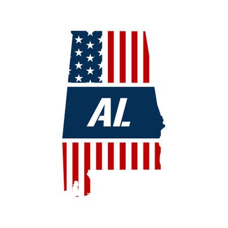 alabama: Alabama patriotic map. Vector graphic design illustration
