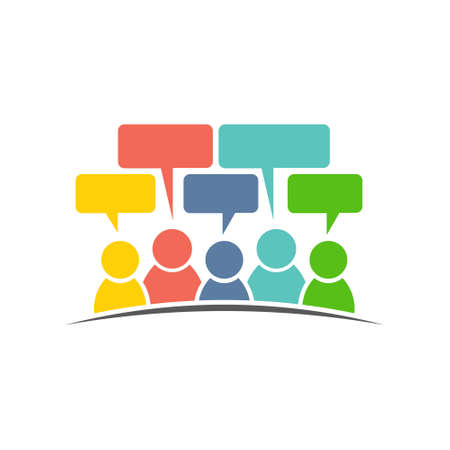 word of mouth: Social media group of people comments. Vector logo design