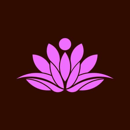 saludable logo: Yoga Lotus imagen abstracta. Concepto de espiritualidad, paz, relax. icono del vector