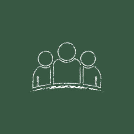 business meeting: Business teamwork people hand drawn in chalk on a blackboard vector illustration Stock Photo