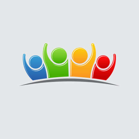 happy family: People Group Teamwork Logo. Vector graphic design illustration