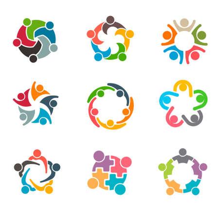 conectar: Conjunto de personas Grupo inusual Logo El trabajo en equipo. Vector de ilustración, diseño gráfico