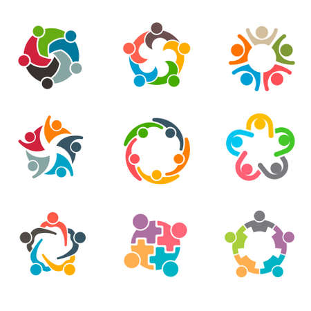 Set of Unusual People Group Teamwork Logo. Vector graphic design illustration
