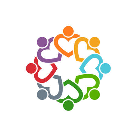 Group of People Eight Friends Hearts. Vector Graphic Design