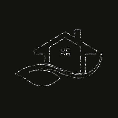 Eco Friendly house Logo in Chalk Style. Vector Graphic