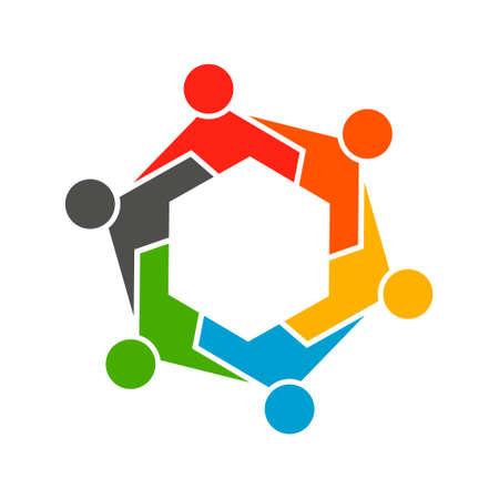life partners: People Hexagon Group Teamwork Logo. Vector graphic design illustration