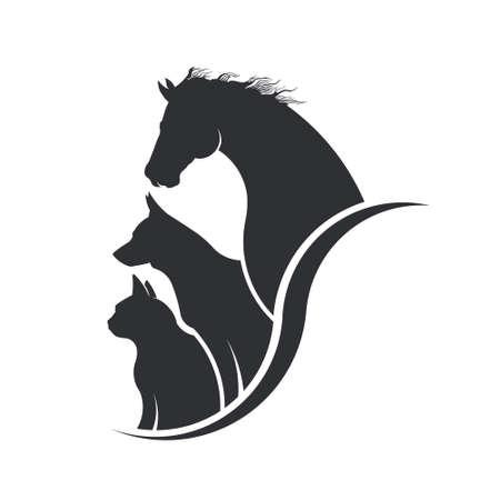 koty: Konia, psa, kota Animal Lover Ilustracja
