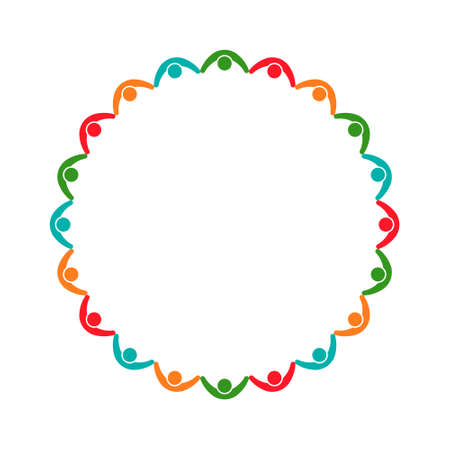 life partners: People Group Holding Together Logo. Vector graphic design illustration