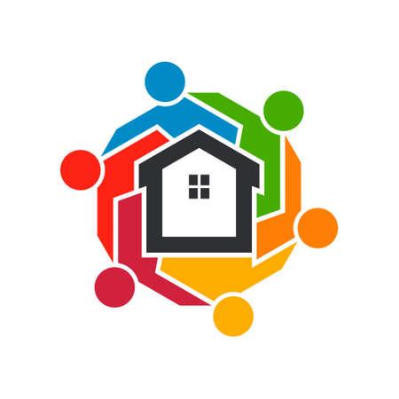 Asociación de Agentes Inmobiliarios de personas Grupo. Diseño gráfico vectorial. Diseño original del logotipo Logos
