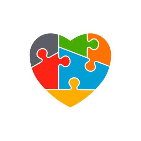 심장 자폐증 인식 디자인 일러스트