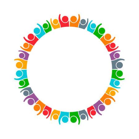People Group Samenwerken Logo. Vector grafisch ontwerp illustratie Stock Illustratie