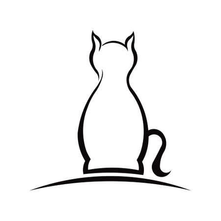 Cat Silhouette in an arc. Logo design Logo