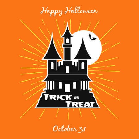 Halloween Trick or Treat Night Castle Party. Invitation Card. Poster Vector illustration Illustration