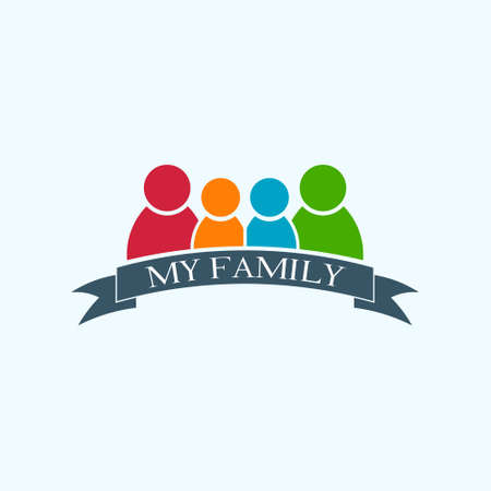 My Happy Family Logo. Vector Illustration
