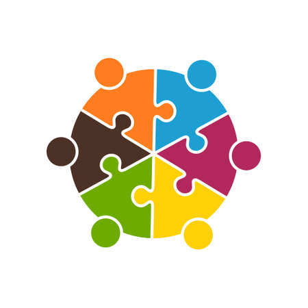 Teamwork People in Six Puzzle Pieces. Vector Graphic design illustration