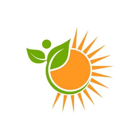 Naturally Made Logo. Plant and Sun Vector Illustration