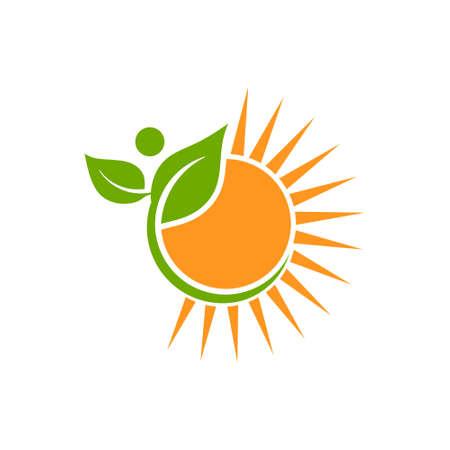 Natuurlijk Made Logo. Plant en Sun Vector Illustration