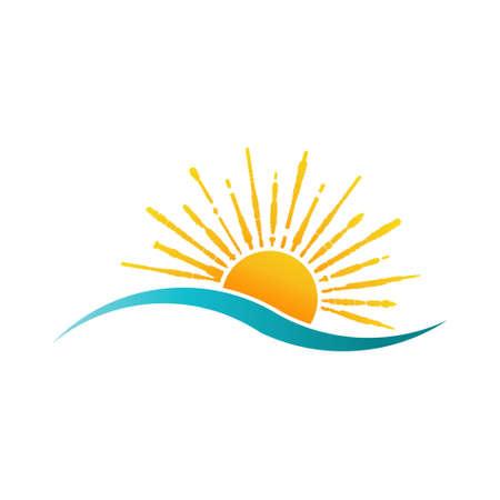 sea water: Sunny Sea Logo. Sun and Water Wave Vector Illustration Illustration