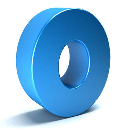 Number Zero 0 color blue icon. 3D rendring illustration