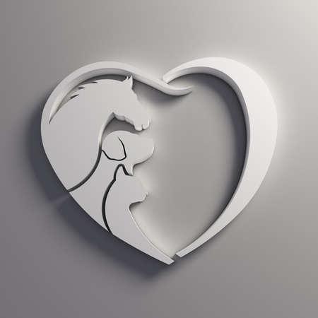 Heart Horse, Dog and Cat love. Stockfoto