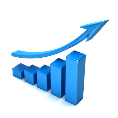 3d business growth bar graph curve Фото со стока