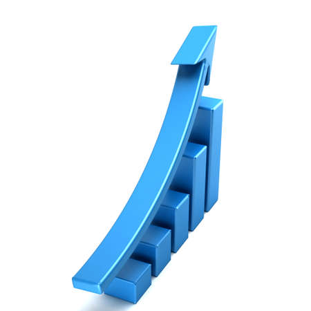 3d business growth bar graph curve. 3D rendering illustration Stock Photo