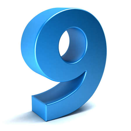 shiny background: Number Nine 9 color blue icon. 3D rendring illustration
