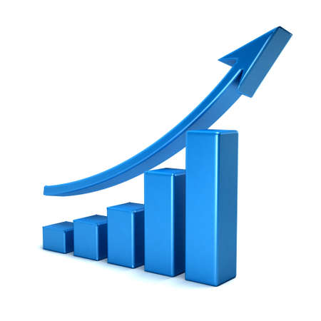 3d business growth bar graph curve Stock Photo
