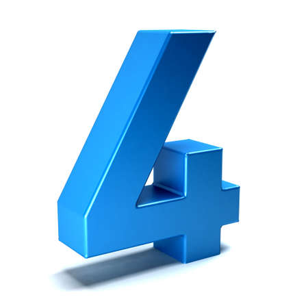 number icon: Number Four color blue icon Stock Photo
