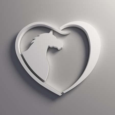 socializando: Amor del logotipo del caballo del corazón.