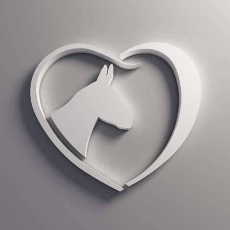 Heart Donkey love. Stock Photo