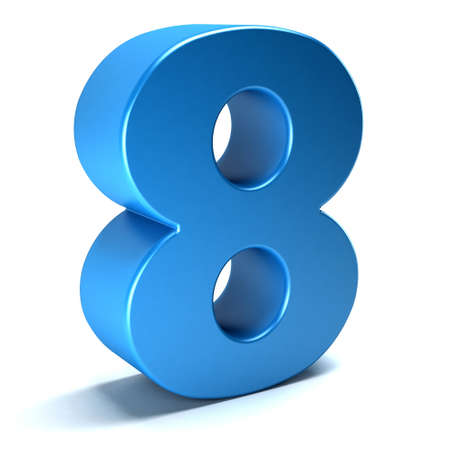 view: Number Eight 8 color blue icon. 3D rendring illustration