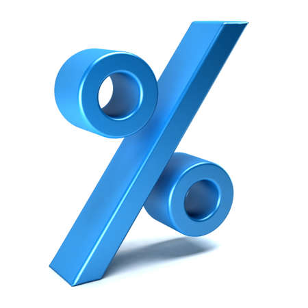 Percent sign blue icon. 3D rendering illustration