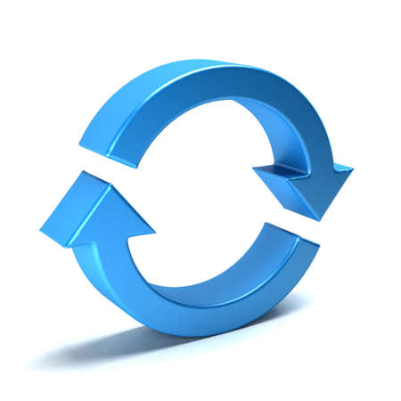 Rotate arrows. Concept for a cycle, loop, continuous period. 3D rendering illustration Stock Photo