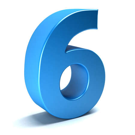 Number Six 6 color blue icon. 3D rendring illustration Stock Photo