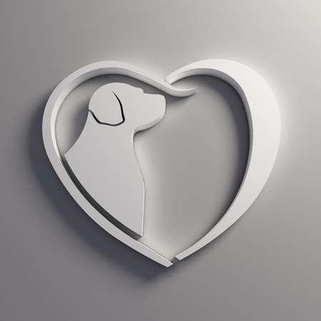socializing: Heart Dog love.  Stock Photo