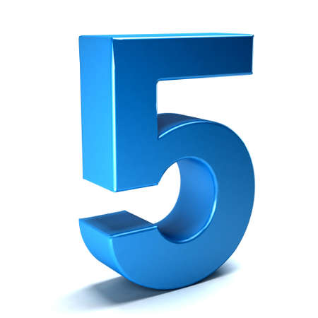 number icon: Number Five color blue icon Stock Photo