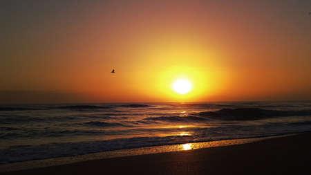 Sunrise at the Beach with Sea Waves Archivio Fotografico