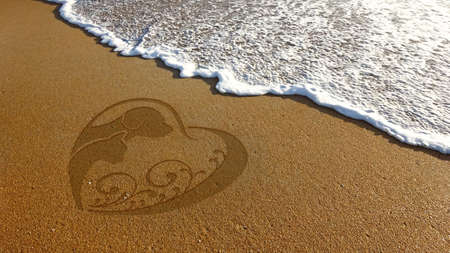 socializando: Dog Cat Lover Sand Illustration in Beach Foto de archivo