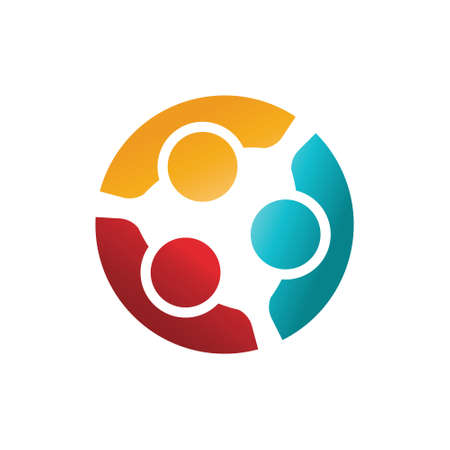Three Happy Confident People in a Round Meeting. Colorful Logo Illustration