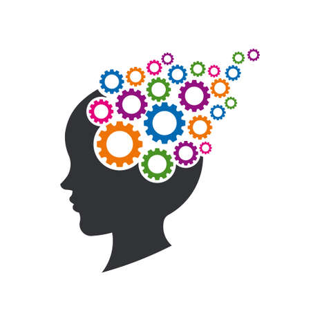 Kid Brain with Gears. Concept of Mental Thinking. Vector Illustration