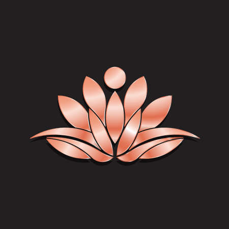 leaf: Luxury Golden Rose Lotus Logo Pllant. Vector Illustration
