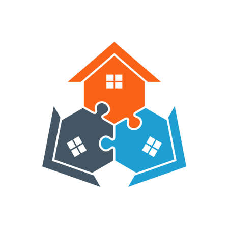 real estate house: Houses Puzzle Assembled Illustration