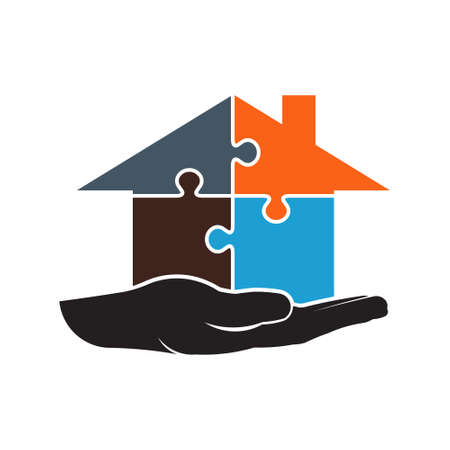 construction: House builder by pieces of puzzle logo. Illustration