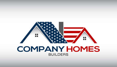 American House with Stars and Stripes Illustration for a Business Card